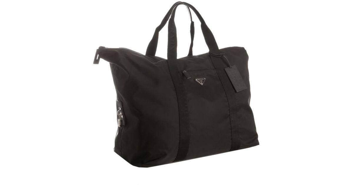 Prada Black Nylon Gabardine Weekender Travel Bag in Black for Men ...