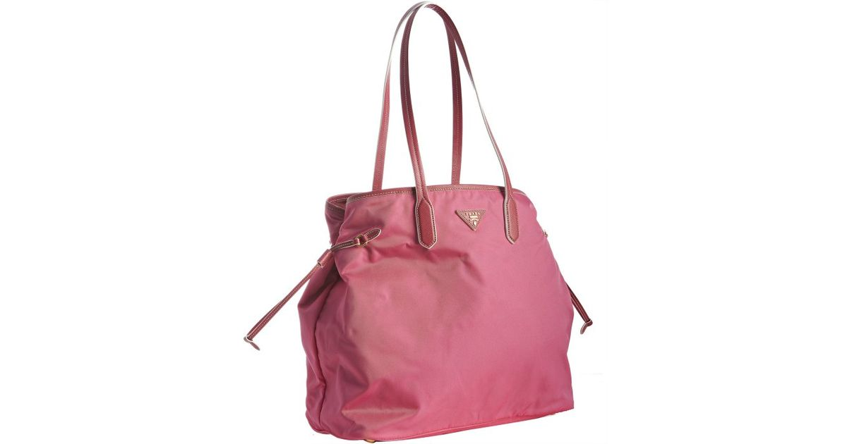 ee7971808249 ... sale lyst prada peonia nylon shopping tote in pink 84257 912bb