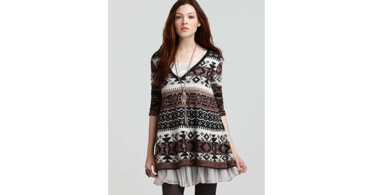 Free people Cabin Fever Fair Isle Sweater in Black | Lyst