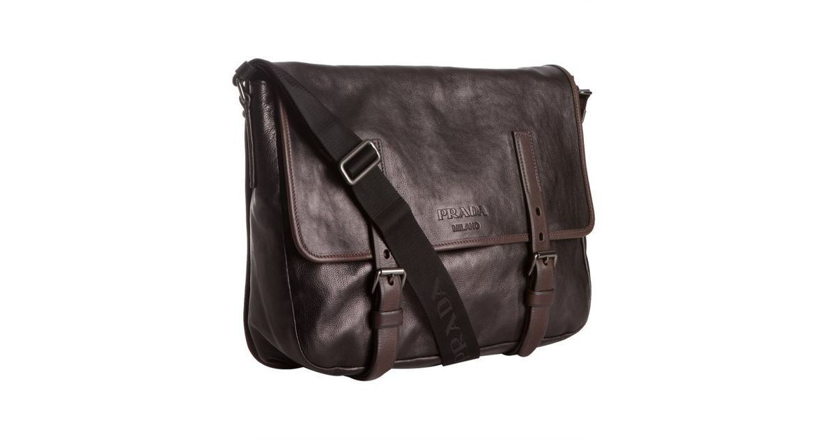 3df2031c68 ... where to buy lyst prada black glazed calfskin messenger bag in black  for men 557dd 2a614