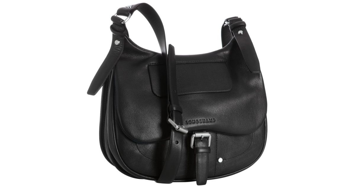 1969b14b935 Longchamp Black Leather Balzane Messenger Bag in Black - Lyst
