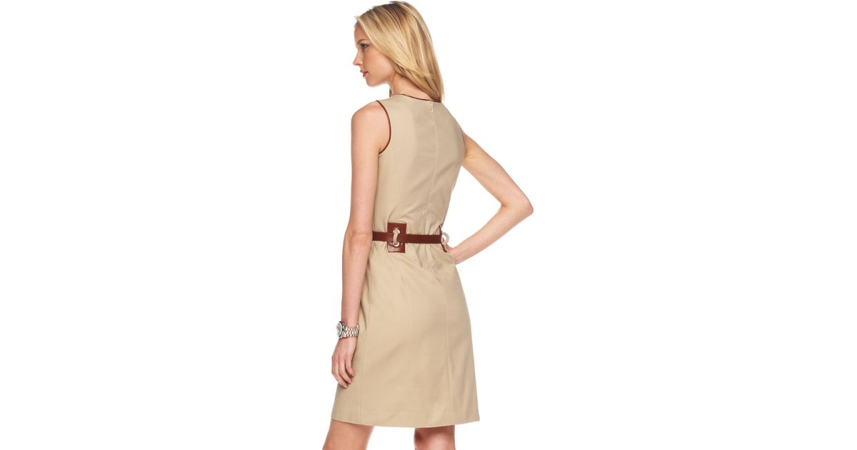 ce7a1702401 Lyst - Michael Kors Belted Sheath Dress in Natural