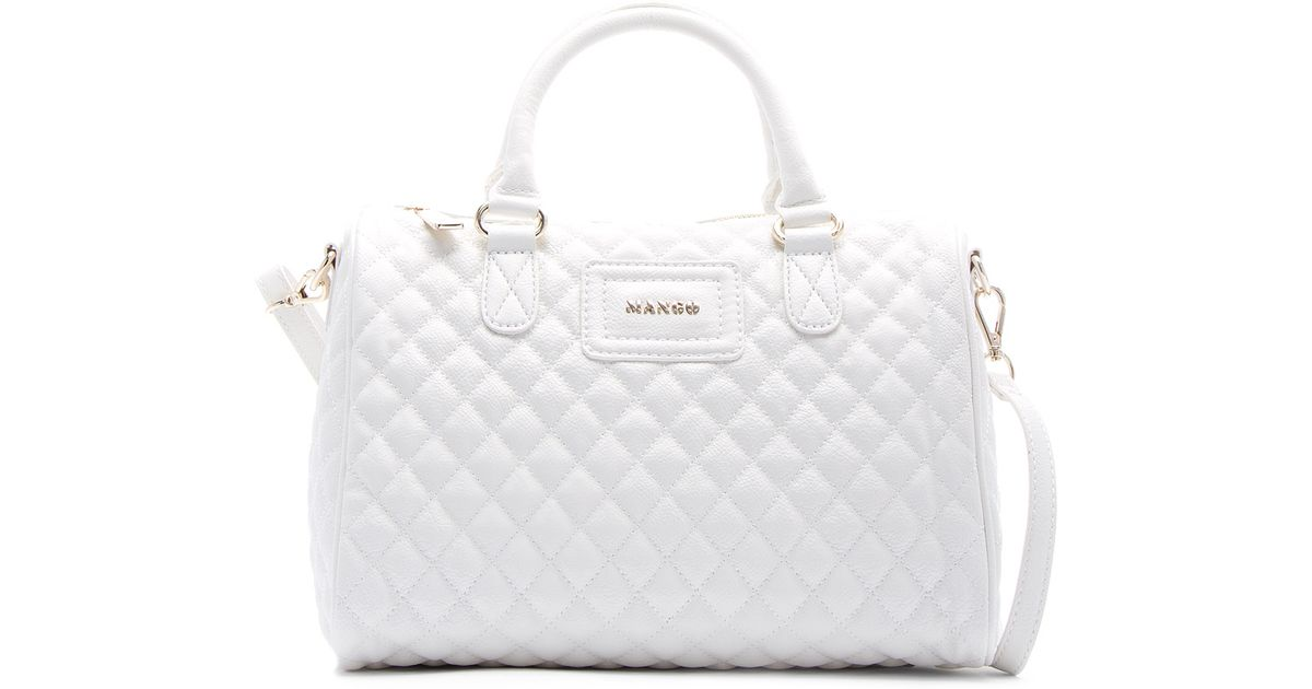 Mango Quilted Bowling Handbag in White | Lyst