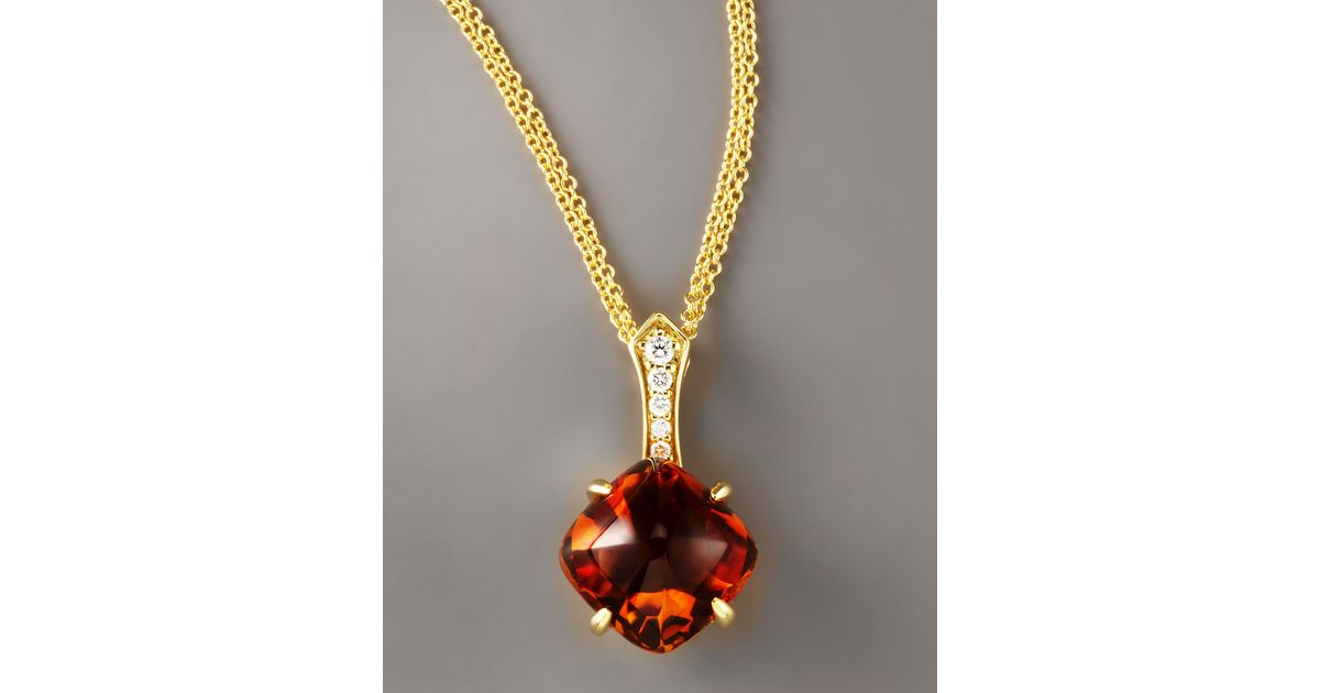 Lyst frederic sage citrine diamond pendant necklace in metallic aloadofball Images