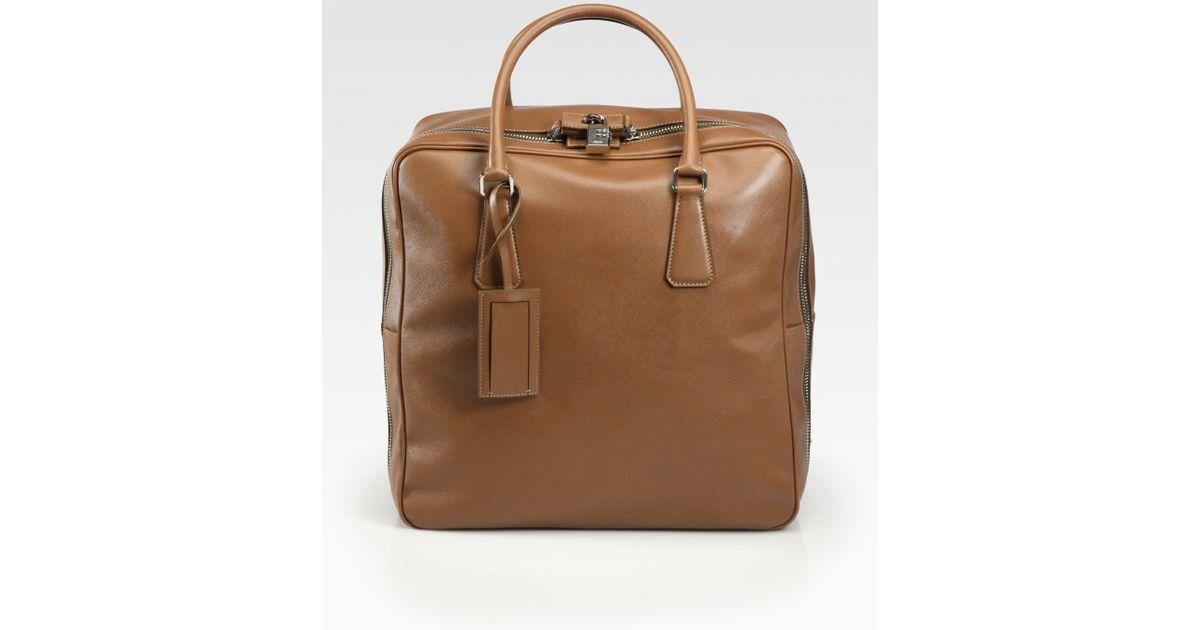 26eb285bc10f ... greece lyst prada saffiano travel bag in brown for men 6404e b1749 ...