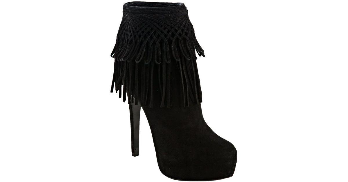Dior Black Suede Fringe Platform Ankle Boots in Black | Lyst