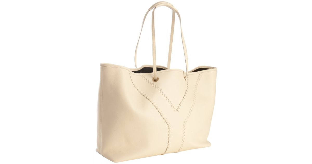 Saint laurent Ivory and Black Leather Neo Double Reversible Tote ...