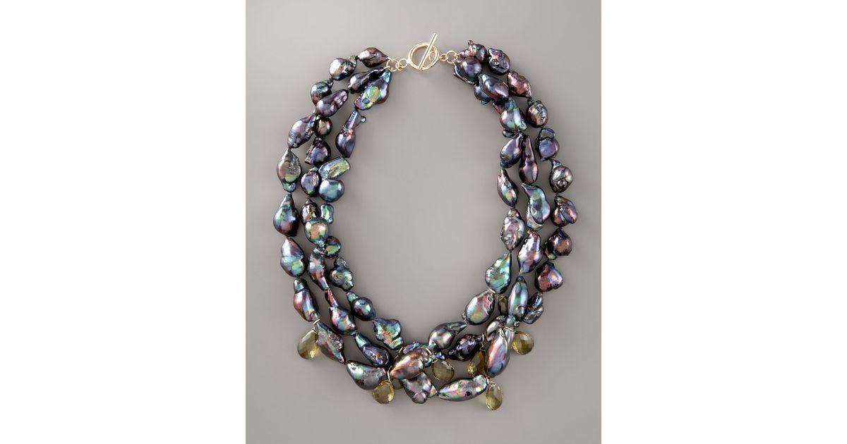 Lyst Wendy Brigode Black Baroque Pearl Necklace In Black