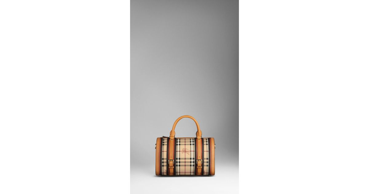 25fd536167d6 Lyst - Burberry Medium Haymarket Check Belted Bowling Bag in Brown