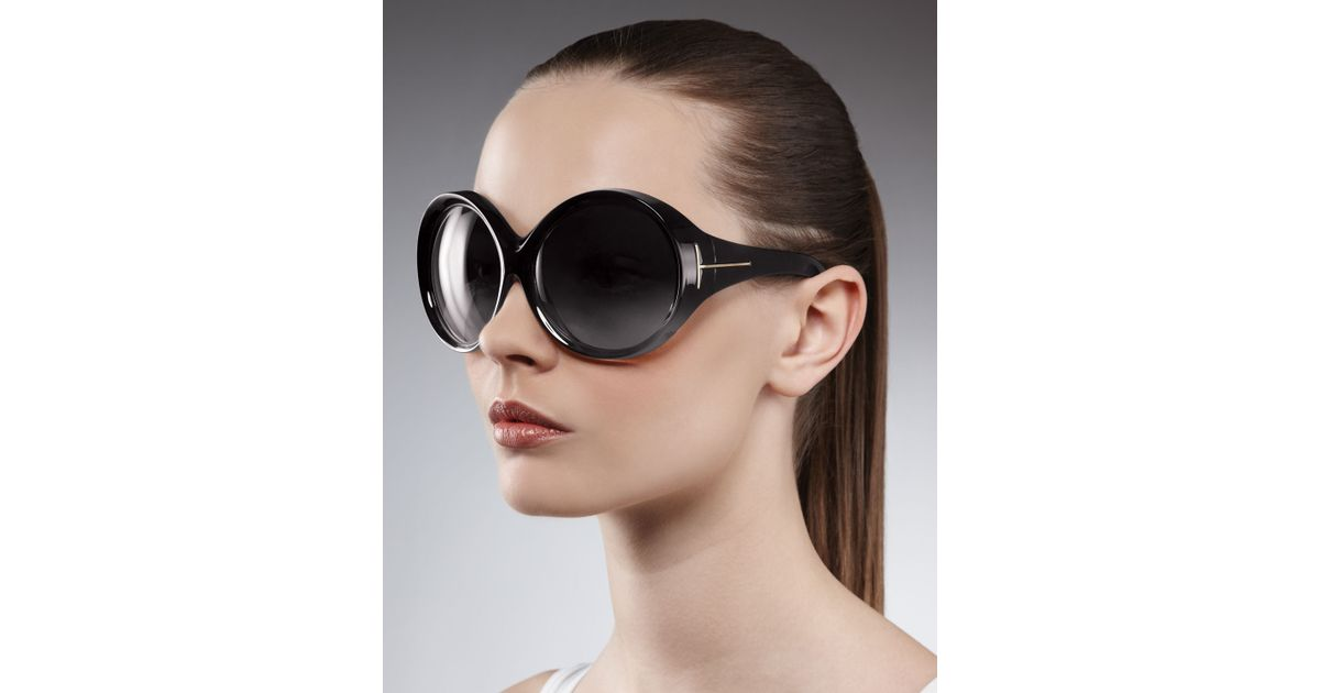 65e09be5a2 Tom Ford Ali Oversized Round Sunglasses in Black - Lyst