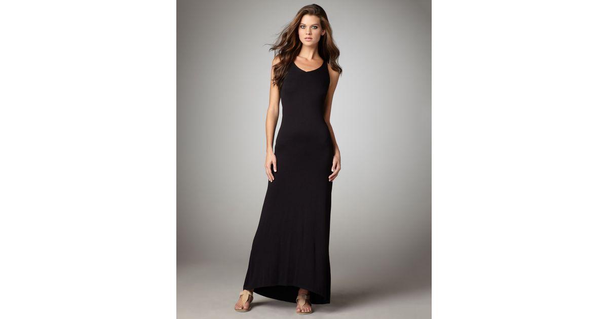 Lyst Vince Knit Racerback Maxi Dress In Black