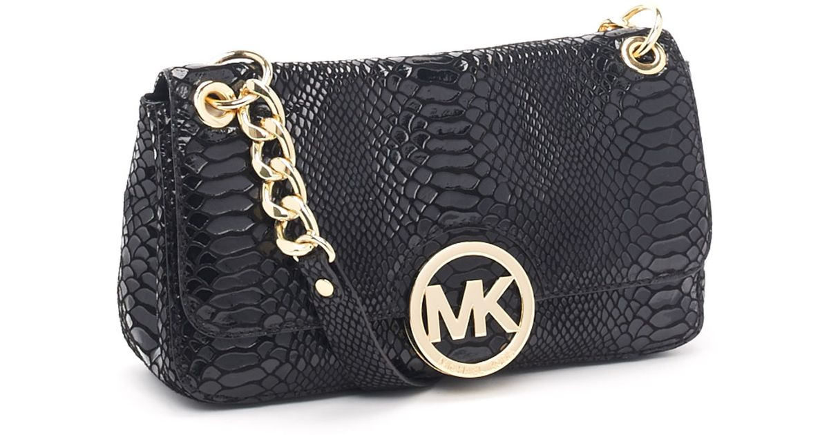 8d357b338e9b ... cheap lyst michael kors small fulton patent python embossed shoulder bag  in black 14adf 42766