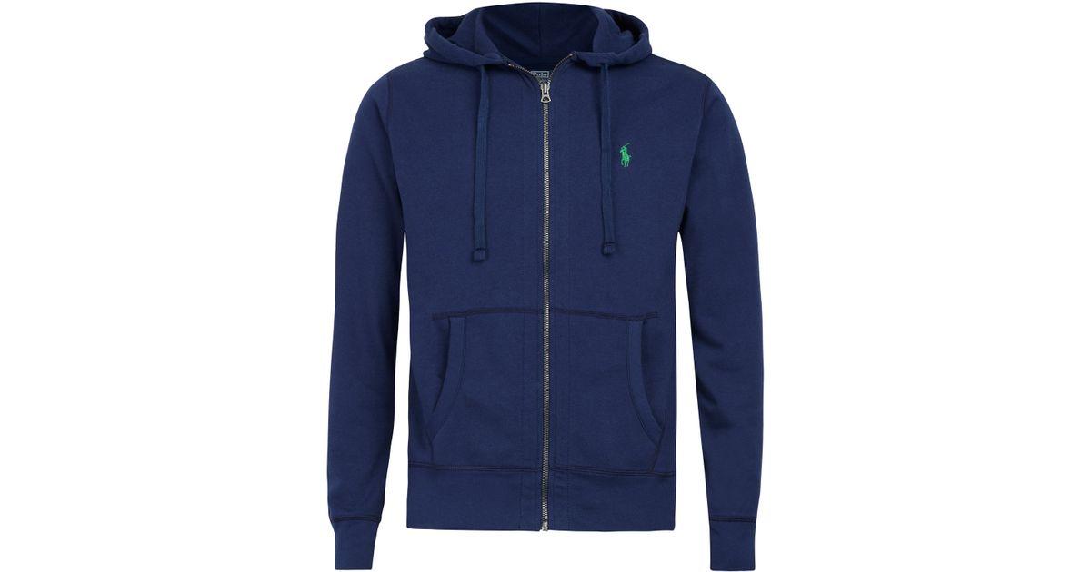 Polo Ralph Lauren Navy Zip Front Hoodie In Blue For Men Lyst