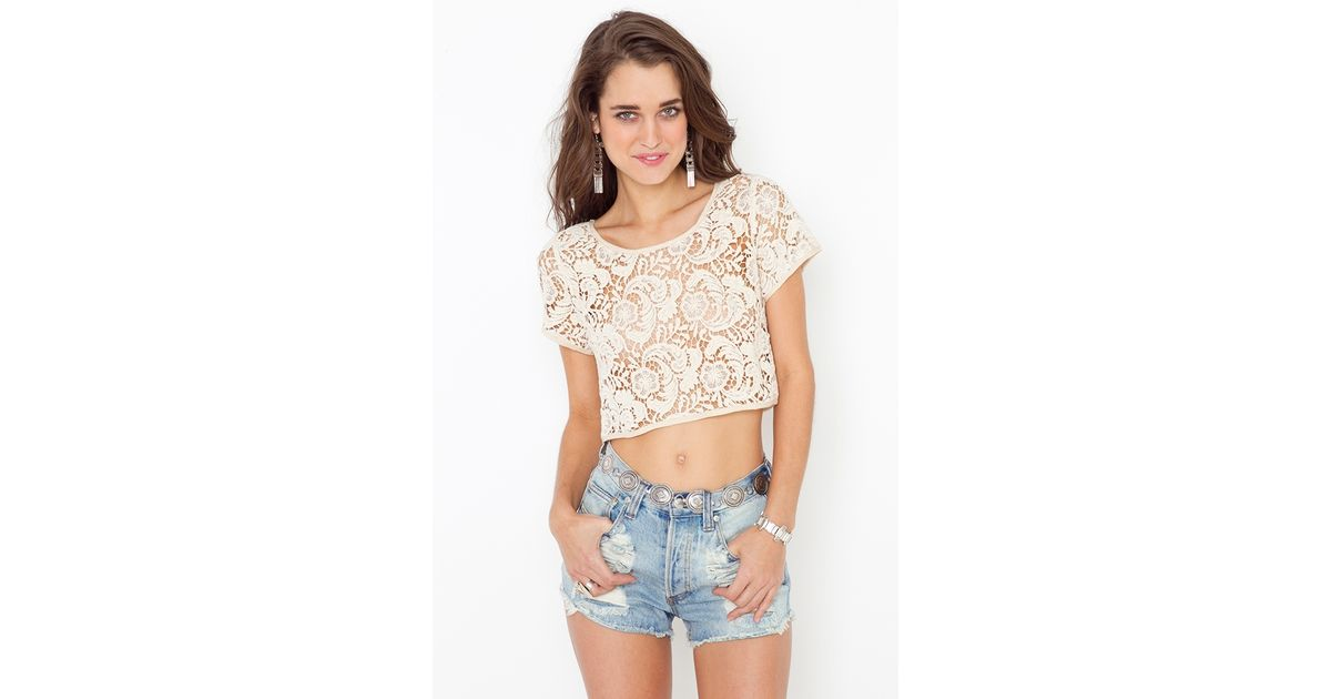 c8bc933bb2a Nasty Gal Penny Lane Crop Top in Natural - Lyst