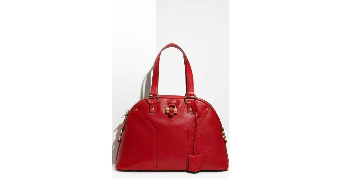 Saint laurent Muse - Large Leather Dome Satchel in Red (poppy) | Lyst