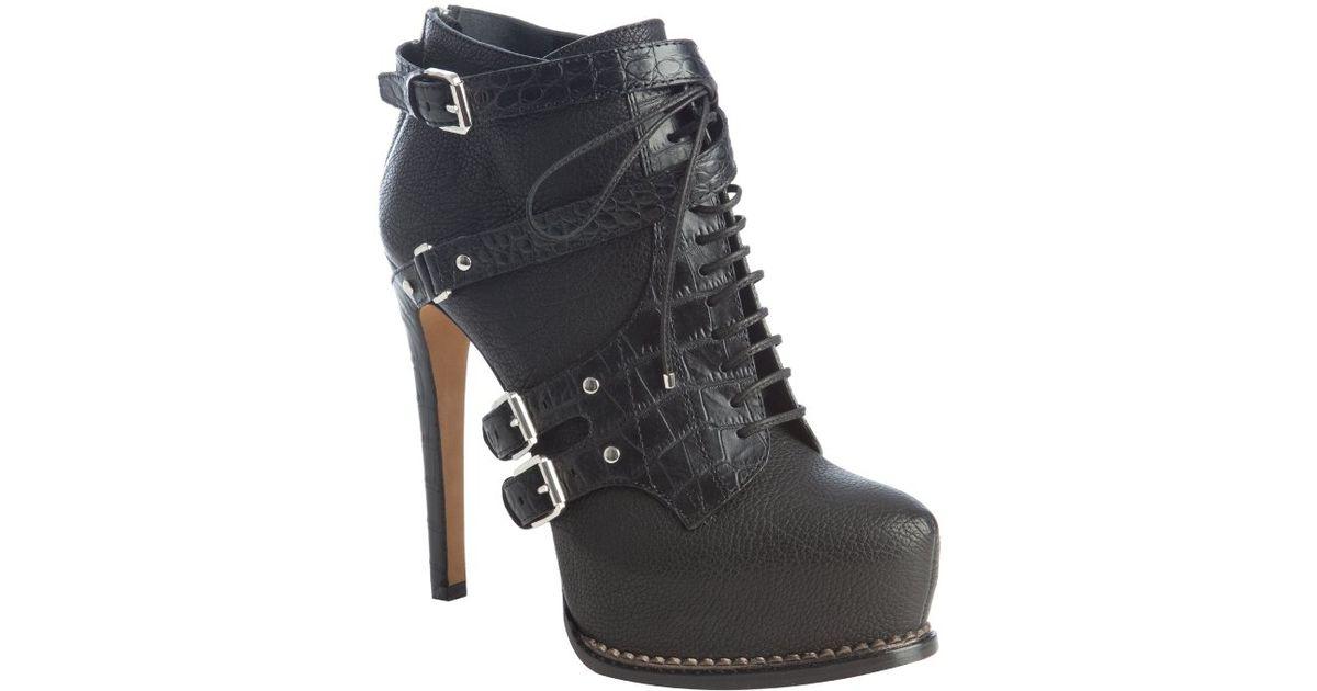ab6c456d Dior - Black Leather Guetre Buckle Detail Platform Ankle Booties - Lyst