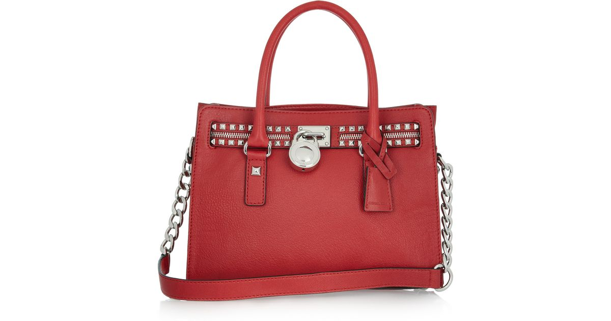 9c97d56c670c Lyst - MICHAEL Michael Kors Hamilton Rock N Roll Leather Tote in Red