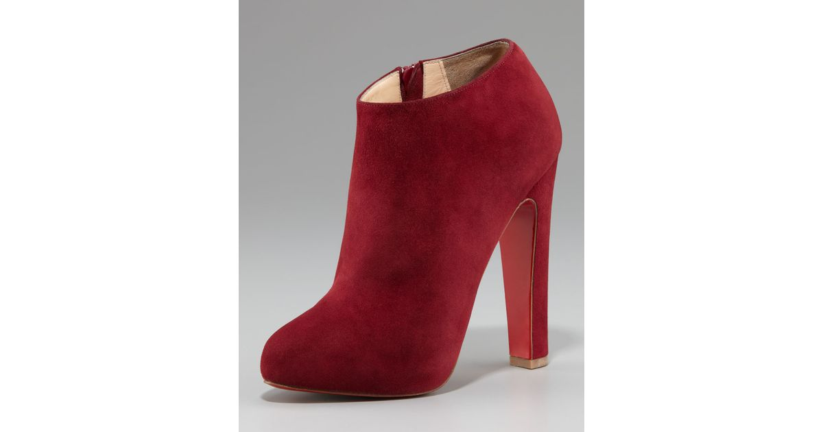 2a38e621eeb1 Lyst - Christian Louboutin Suede Thick-heel Bootie in Purple