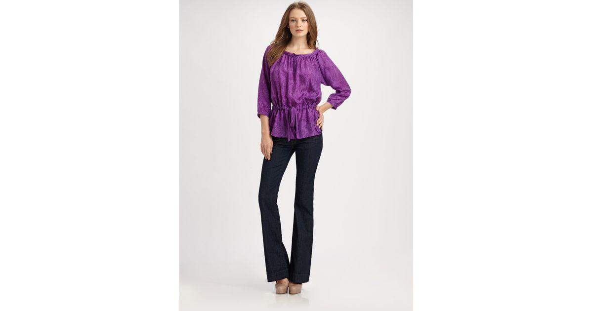 40c53ac271 Lyst - Rebecca Taylor Python-print Silk Blouse in Purple