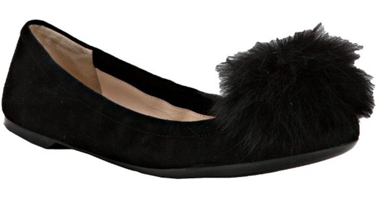 Prada Black Fur Pom Pom Sandals