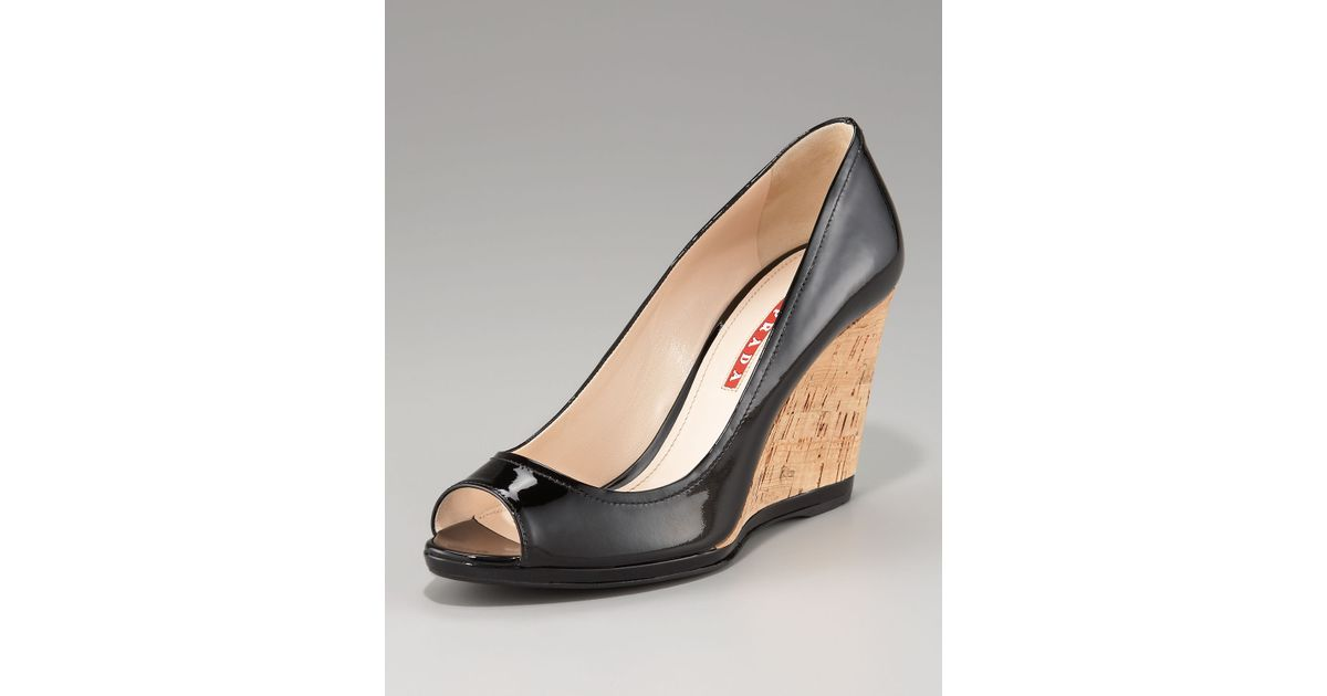 Prada Peep-Toe Wedge Pumps cheap recommend under $60 for sale sneakernews cheap online discount authentic online where can you find am8D9EfQk