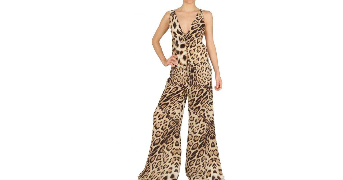 e7d3fc3496 Lyst - Roberto Cavalli Leopard Print Crepe De Chine Jumpsuit