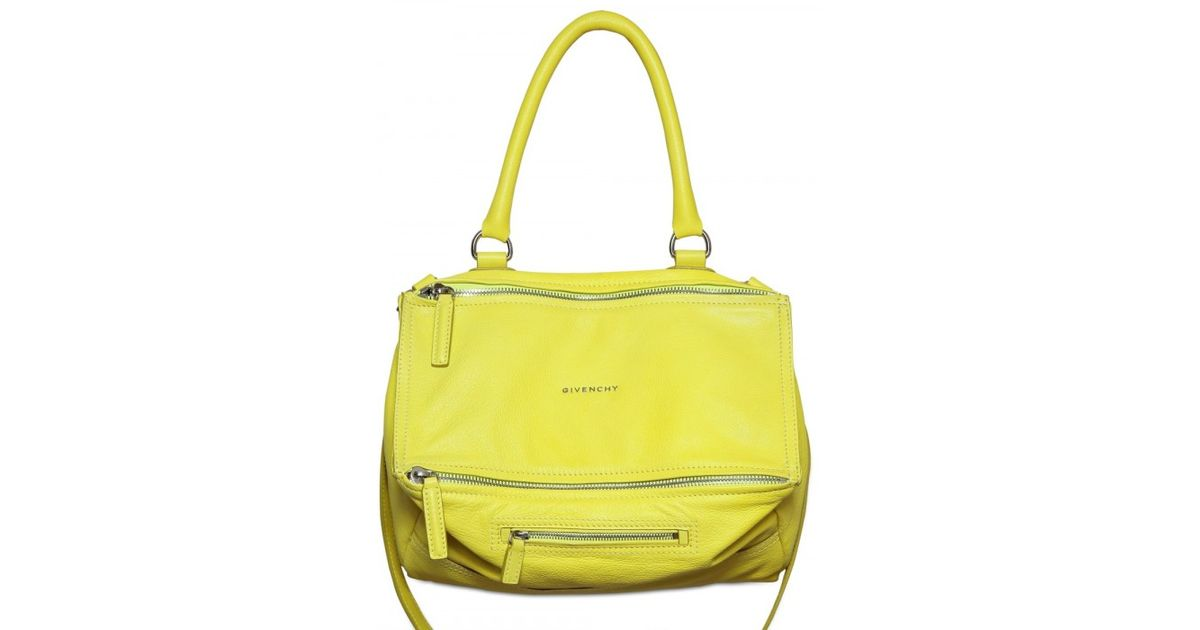 a06ddcb6ee Lyst - Givenchy Pandora Medium Grained Leather Shoulder Bag in Yellow