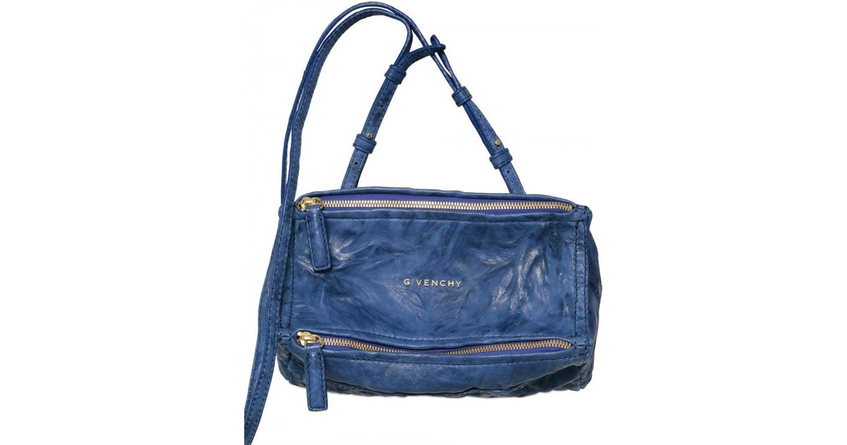 70ca4adfae0 Givenchy Pandora Mini Washed Leather Shoulder Bag in Blue - Lyst