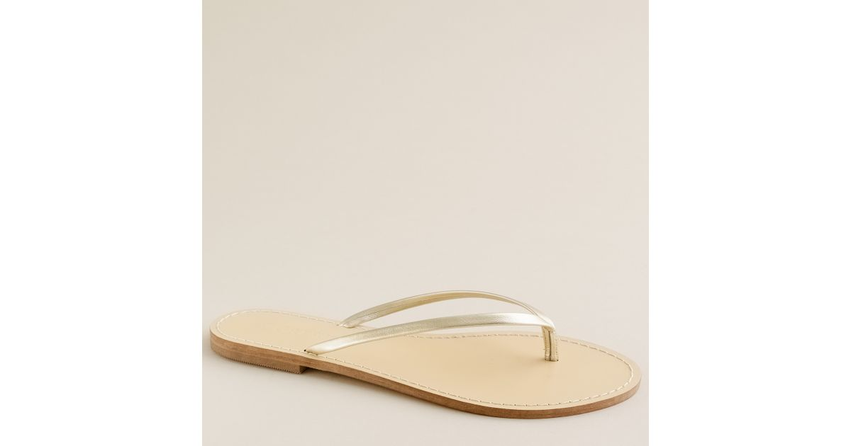 0d11a7ec7e3f Lyst - J.Crew Leather Capri Sandals in Metallic