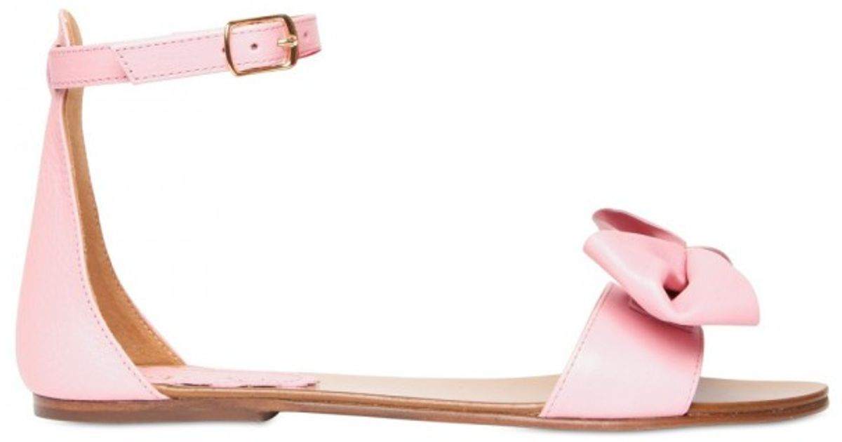 Lyst - RED Valentino Leather Bow Ankle Strap Flats in Pink