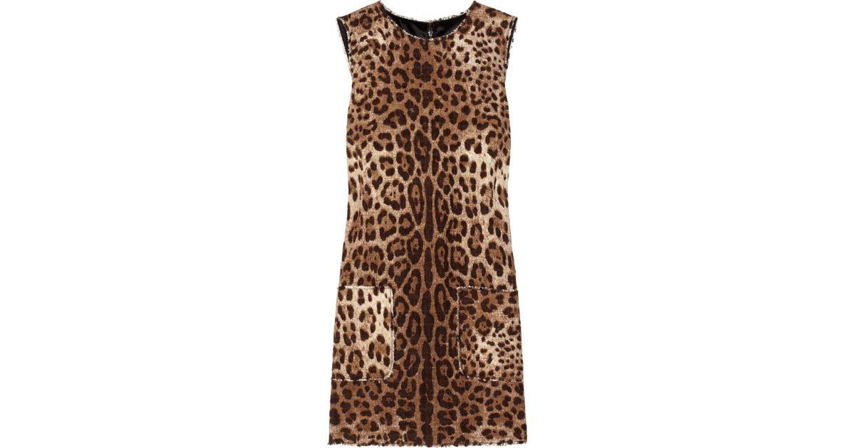 7b2fc8922c Lyst - Dolce   Gabbana Leopard-print Tweed Mini Dress in Natural