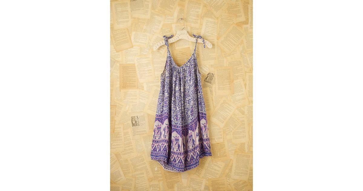 86abee8b69 Free People Vintage Blue Indian Gauze Dress in Blue - Lyst