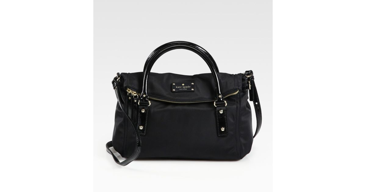 Lyst Kate Spade New York Small Leslie Foldover Nylon Patent Leather Tote In Black