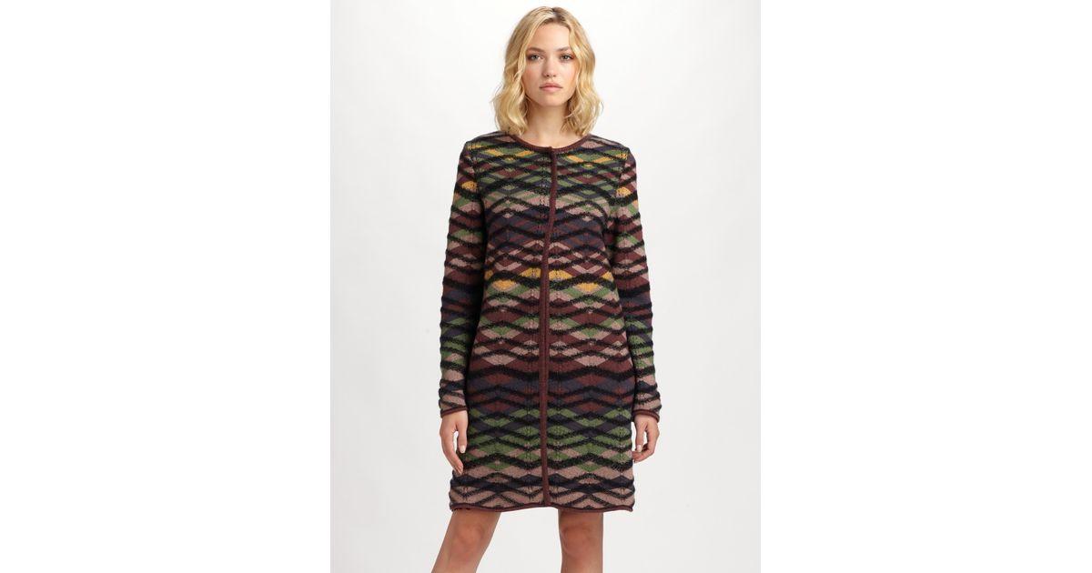 M missoni Bias Plaid Sweater Coat in Black | Lyst