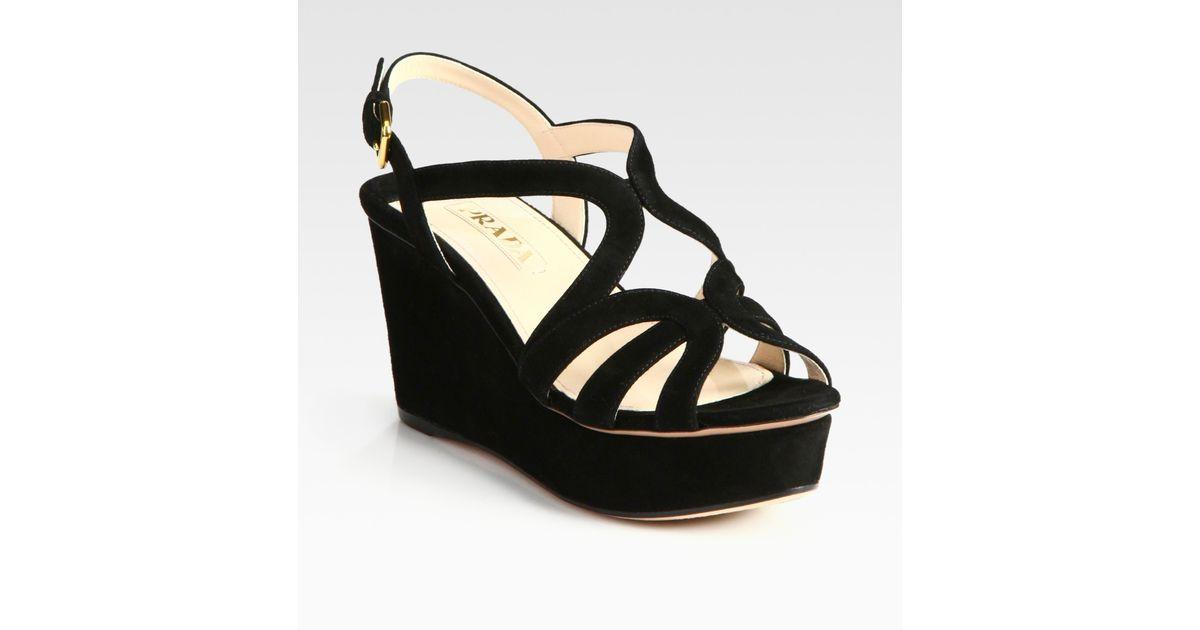 f985b3ce13e Lyst - Prada Suede Multistrap Wedge Sandals in Black