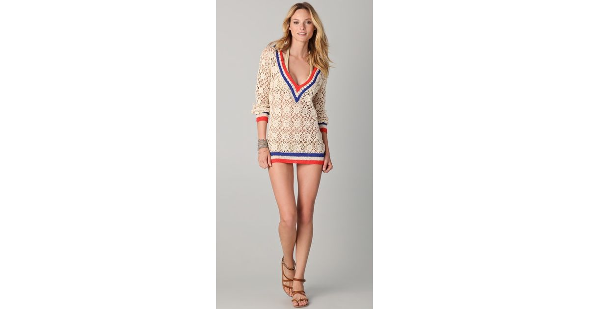 b6a70531a7ce Lyst - OndadeMar Riviera Sands Crochet Cover Up in Natural
