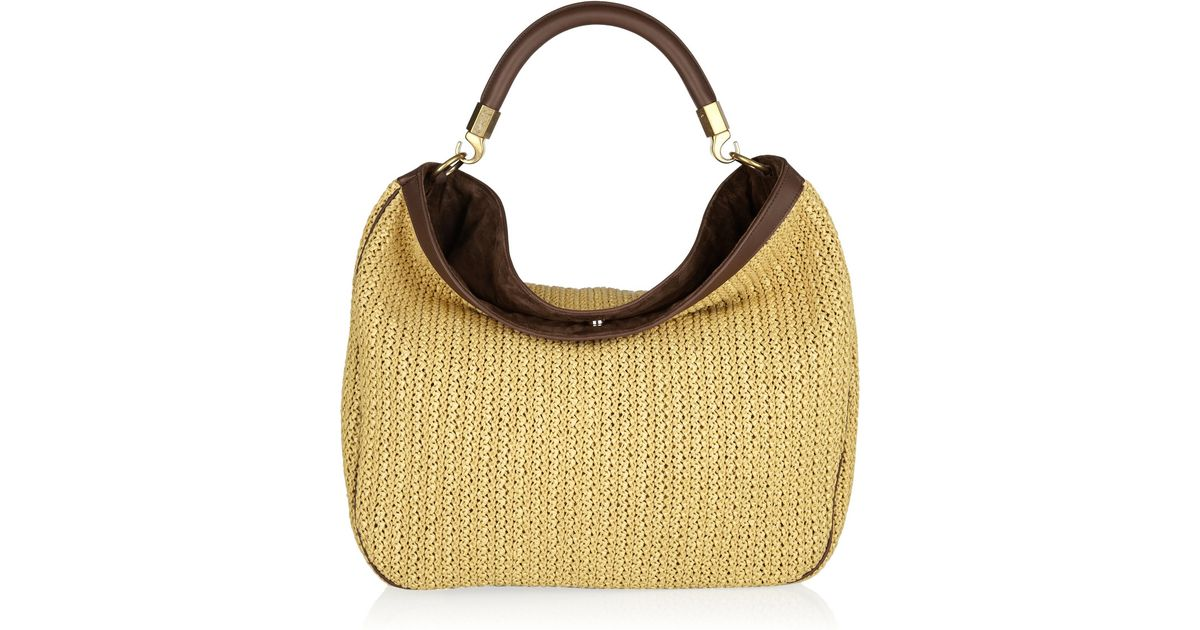 Saint laurent Roady Woven Straw and Leather Hobo Bag in Beige ...
