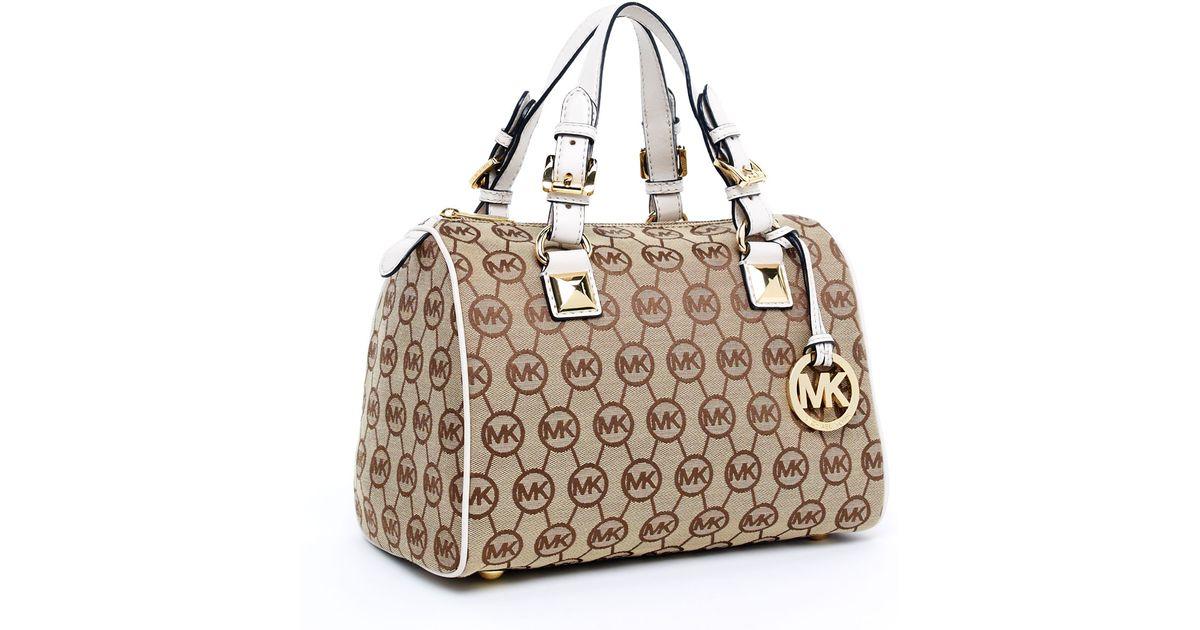 b007464bb75c ... shoulder satchel handbag bag crossbody 72c60 f6047  get lyst michael  kors medium grayson monogram satchel beige ebony vanilla in brown b9101  f77af