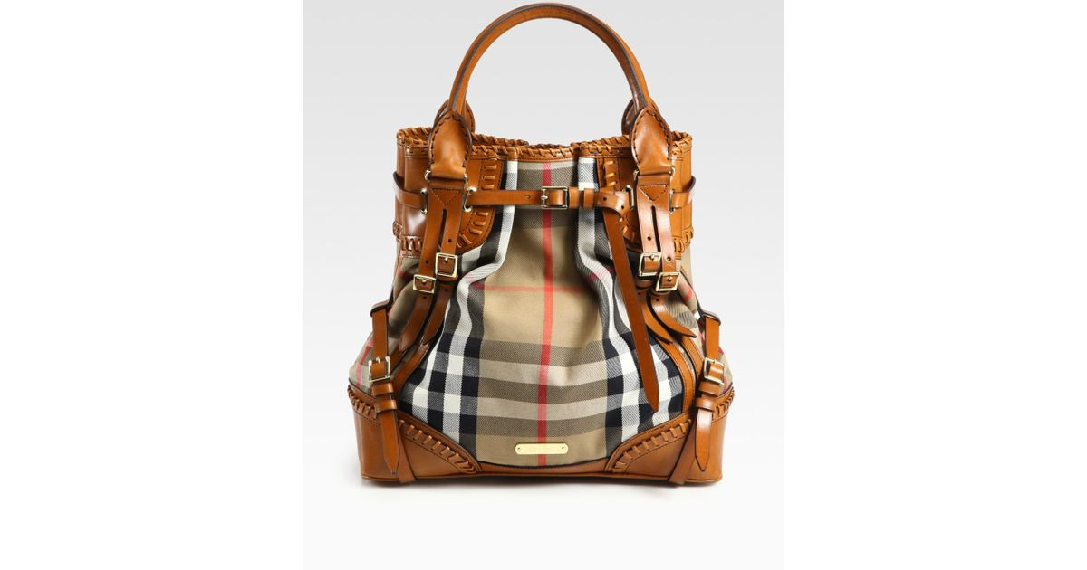 Lyst Burberry Prorsum Whipsch Leather Check Canvas Tote Bag 4415d126e0