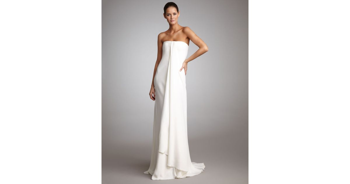 Lyst - Ralph Lauren Black Label Strapless Draped Gown in White