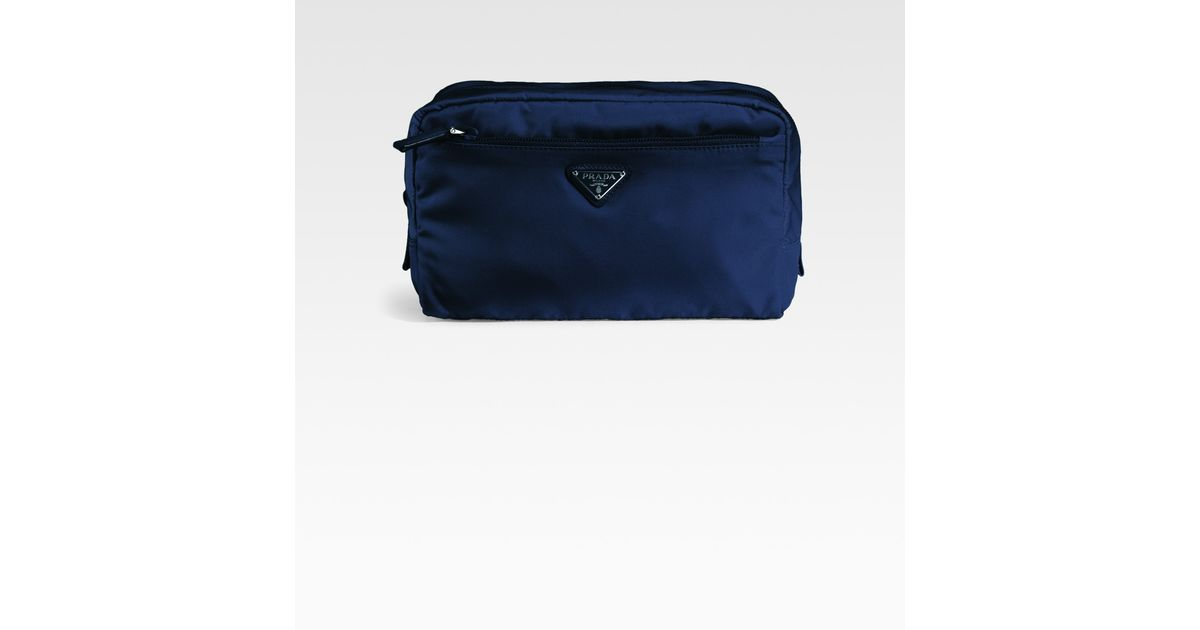 e1d9a56c16048a Prada Large Nylon Cosmetic Bag in Blue - Lyst