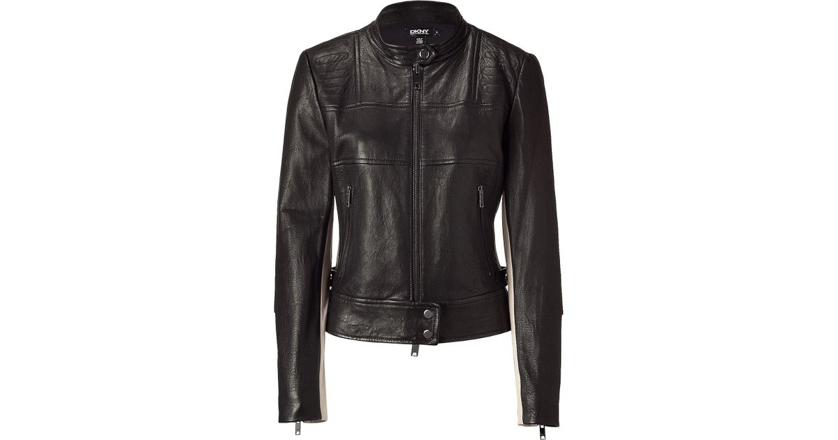 Lyst - Dkny Blacknude Leather Biker Jacket In Black-8036