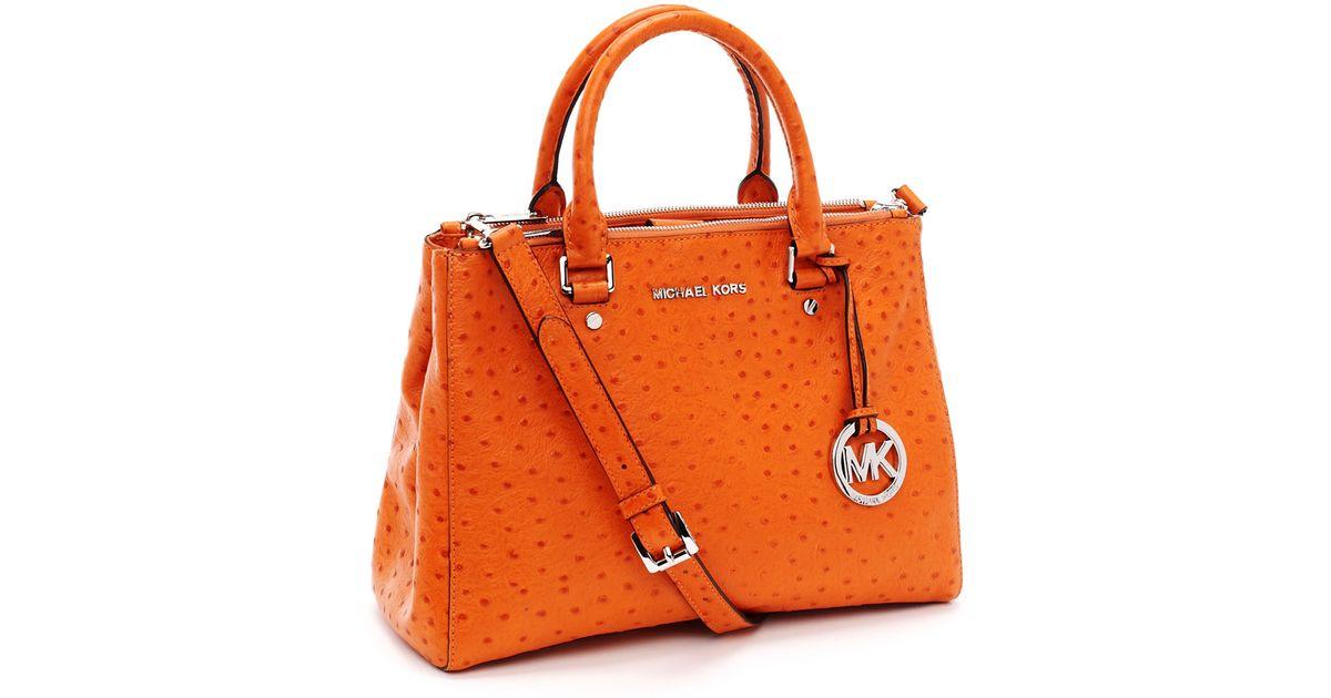 lyst michael michael kors medium bedford ostrich embossed dressy rh lyst com michael kors handbags orange color michael kors wallet orange