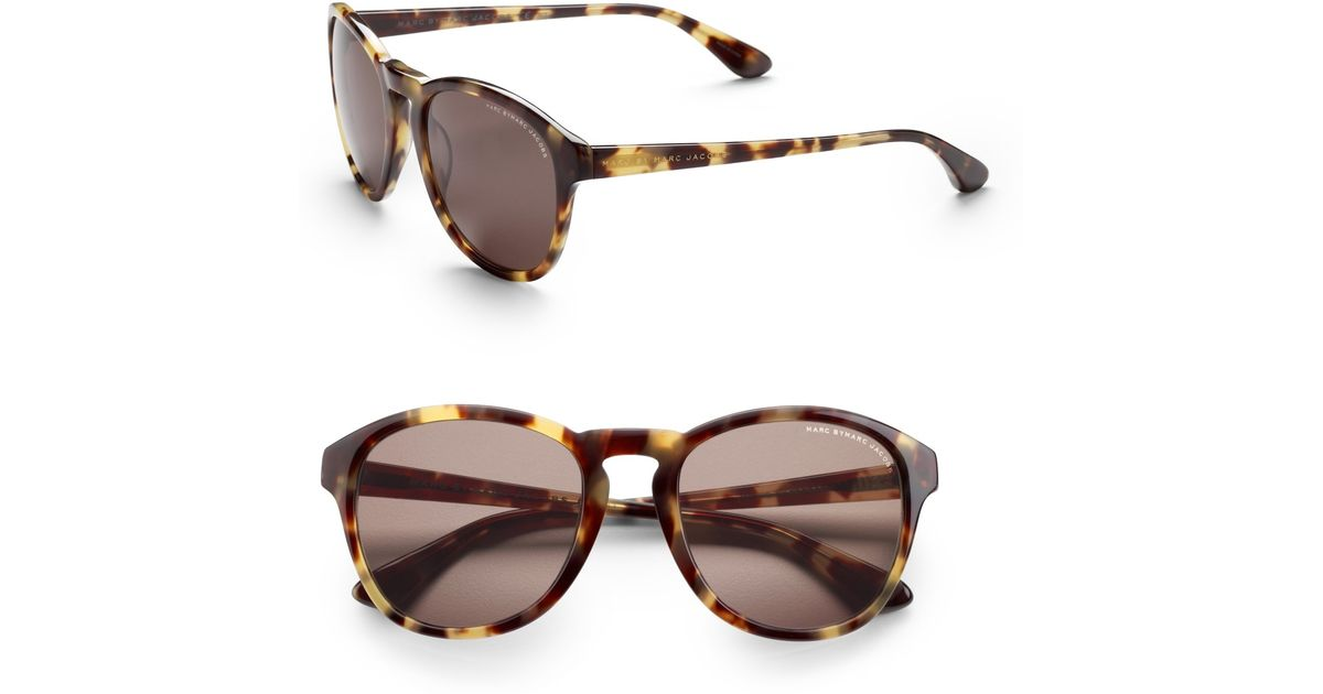 Marc By Marc Jacobs Round Frame Glasses : Marc by marc jacobs Round Tortoise Sunglasses in Brown Lyst