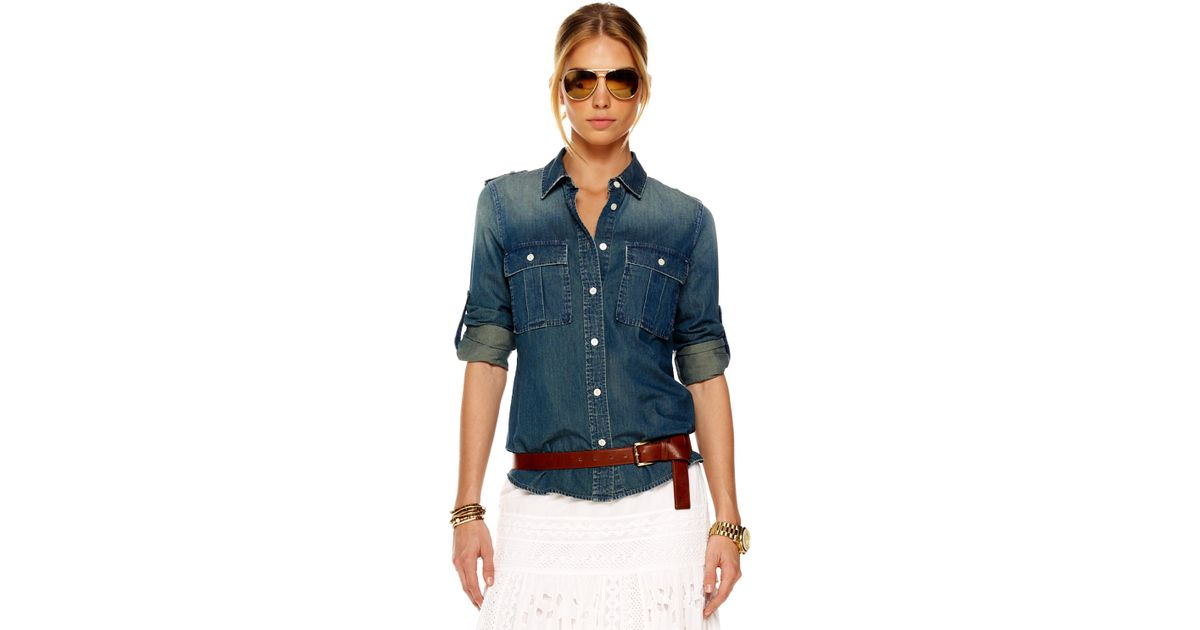 Lyst - Michael Kors Military Denim Shirt 50e1fec439b