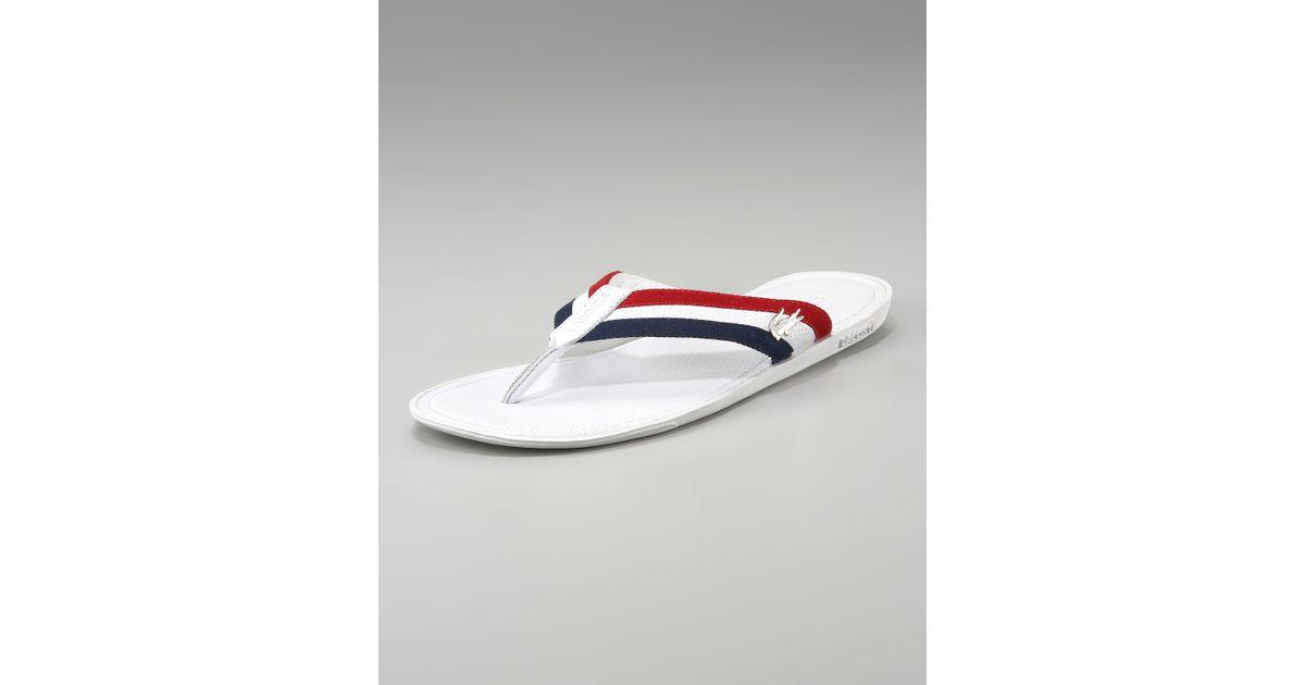 e3d1dc19e Lacoste Carros Striped Flip-flop in White for Men - Lyst