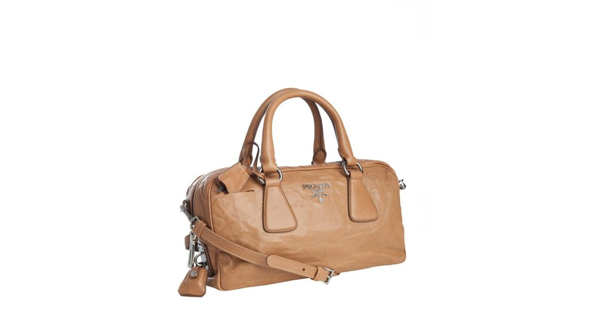 Prada Cinnamon Lambskin Convertible Bauletto Bag in Brown ...