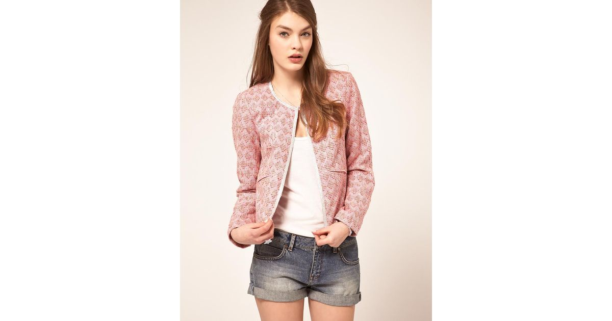 Asos Boucle Jacket With Trim in Pink | Lyst