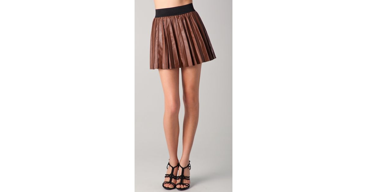 4dc2658d47 Parker Pleated Leather Miniskirt in Brown - Lyst