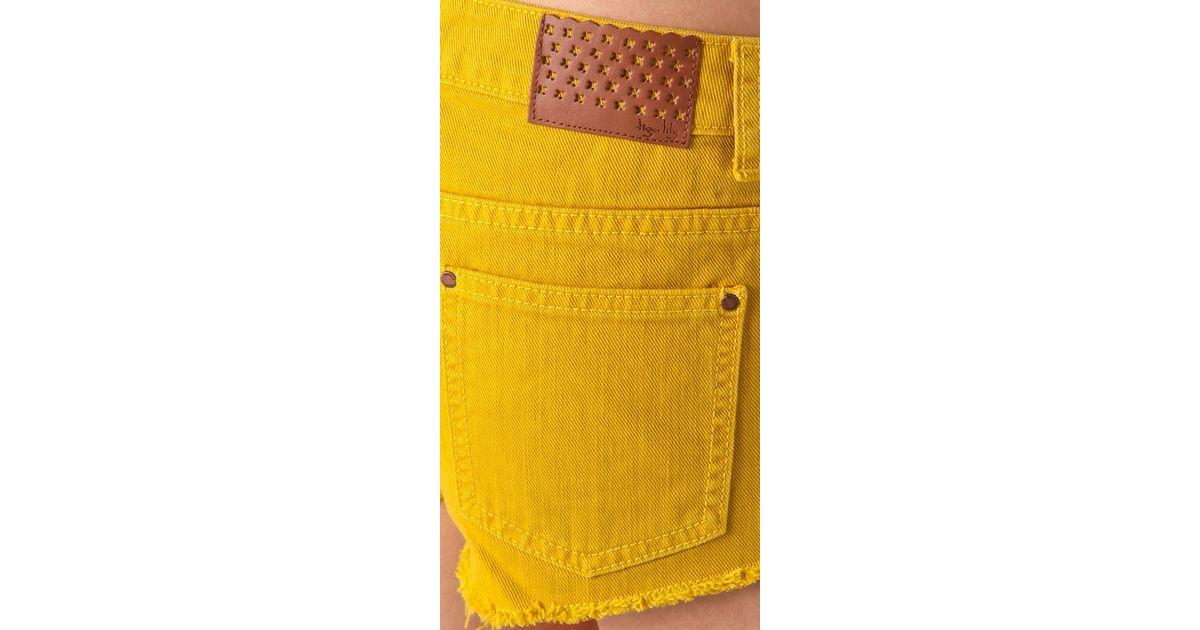 bf47413cd4 Tigerlily - Yellow Overdyed Carranza Denim Shorts - Lyst